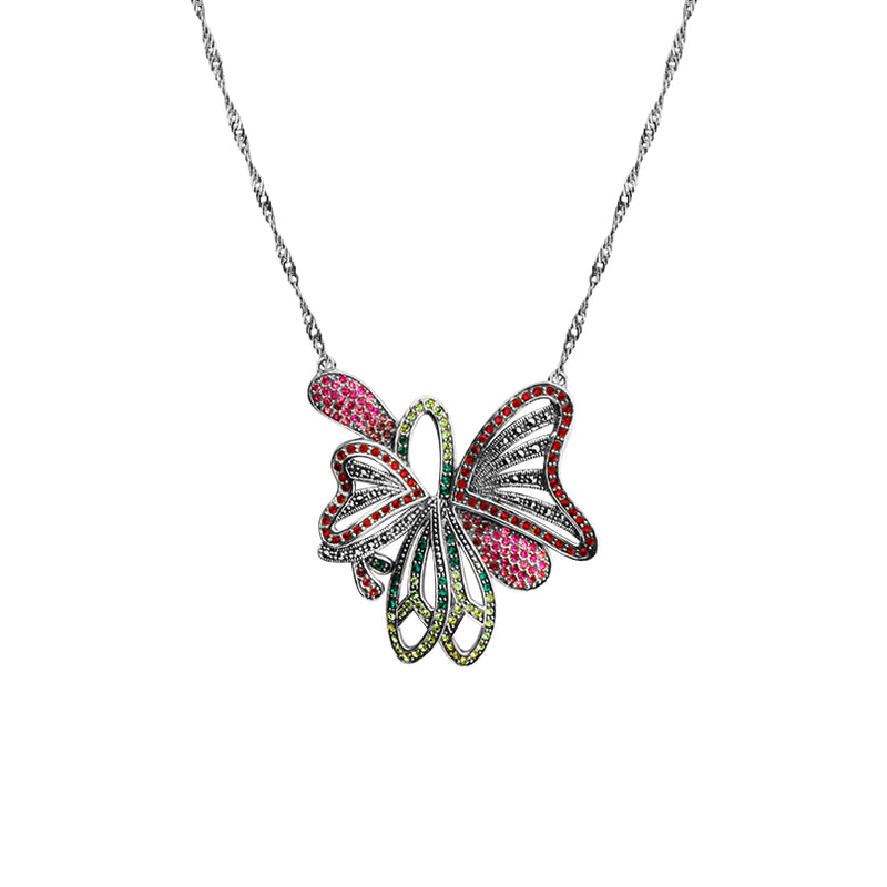 Sparkling Bright Crystal and Marcasite Butterfly Sterling Silver Necklace 16