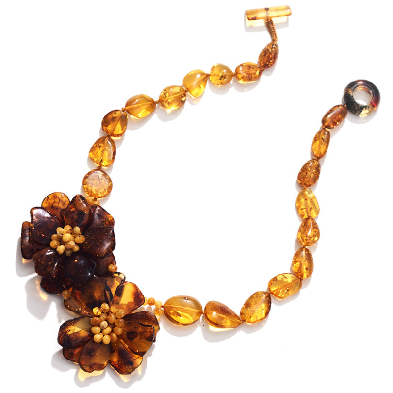 Beautful Cognac Baltic Amber Flower Statement Necklace