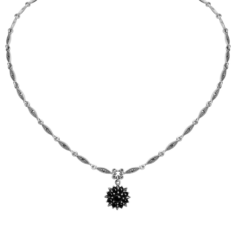 Gorgeous Vintage Blossom Design Black Onyx And Marcasite Sterling Silver Necklace