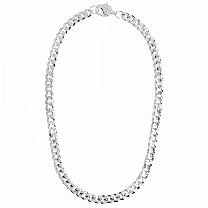 Striking Silver Plated Curb Link Chain