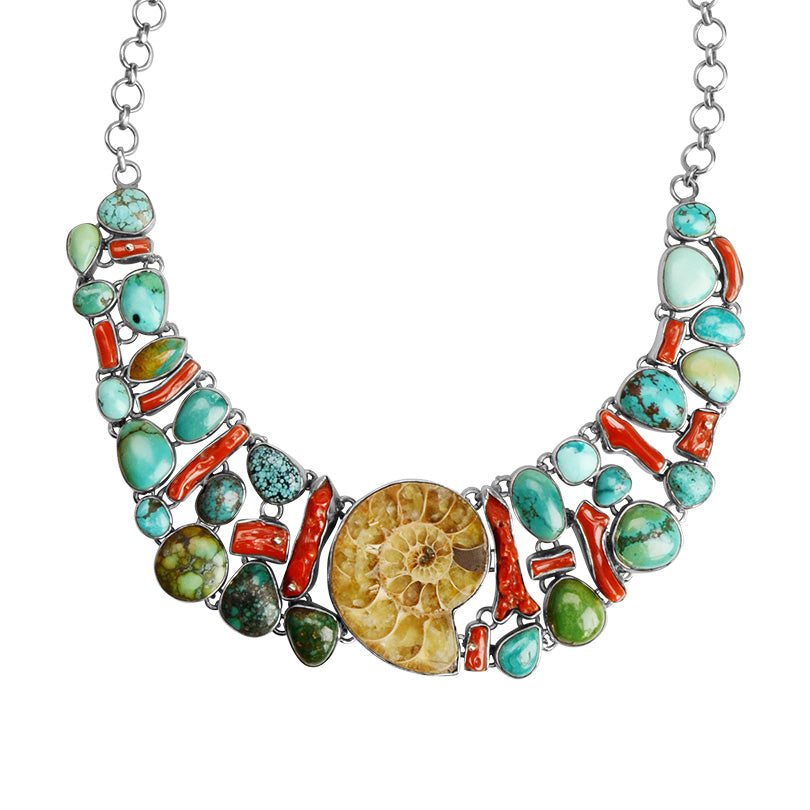 Classic Ammonite with Turquoise & Coral Statement Necklace