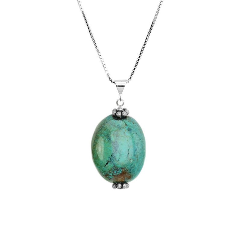 Great Color Genuine Turquoise Stone Sterling Silver Necklace