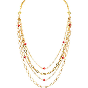 Delicate Gold Plated Chains with Coral Accents Necklace