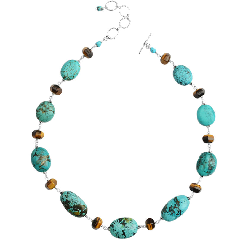 Rare Genuine Turquoise and Tiger's Eye Sterling Silver Statement Necklace