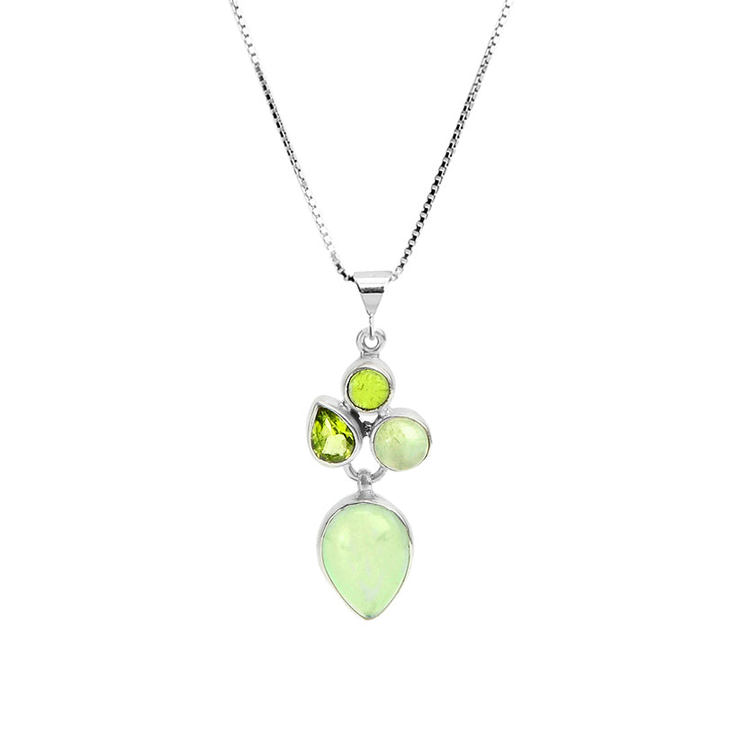 Beautiful Green Prehnite and Peridot Gemstone Sterling Silver Necklace