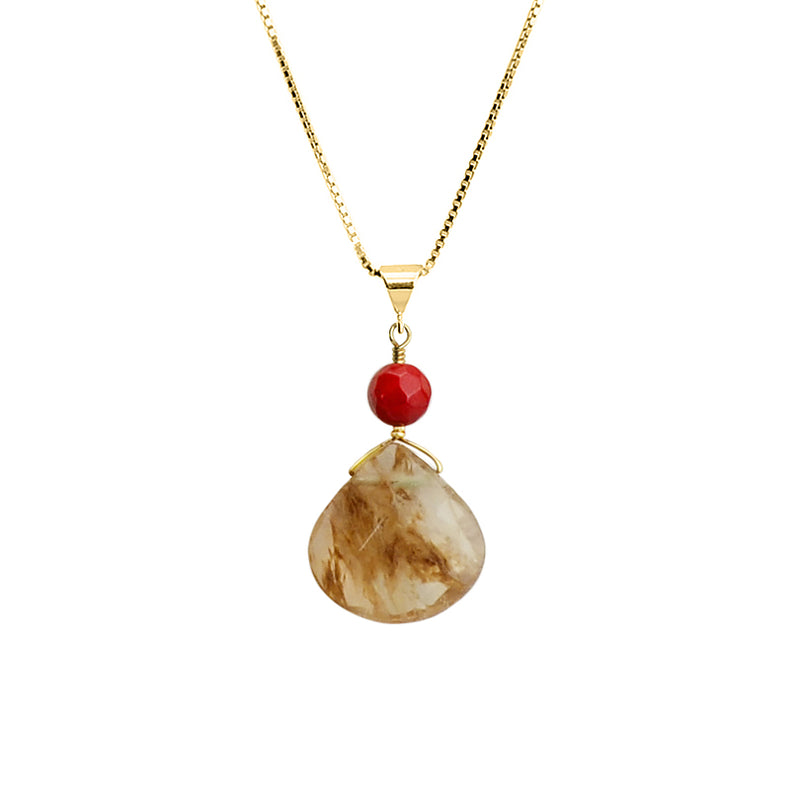 Gold Rutilated Quartz and Coral on Italian Vermeil Necklace