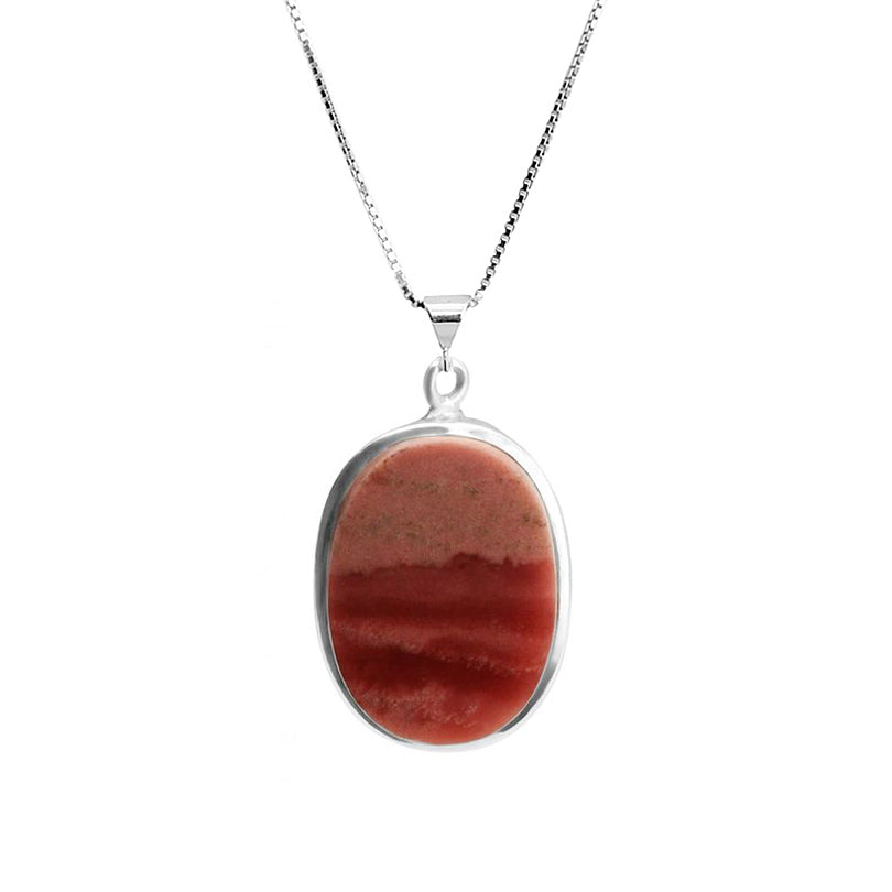 "Natural Rose Sunset Colors of Moukaite Jasper Sterling Silver Necklace 16"" - 18"""