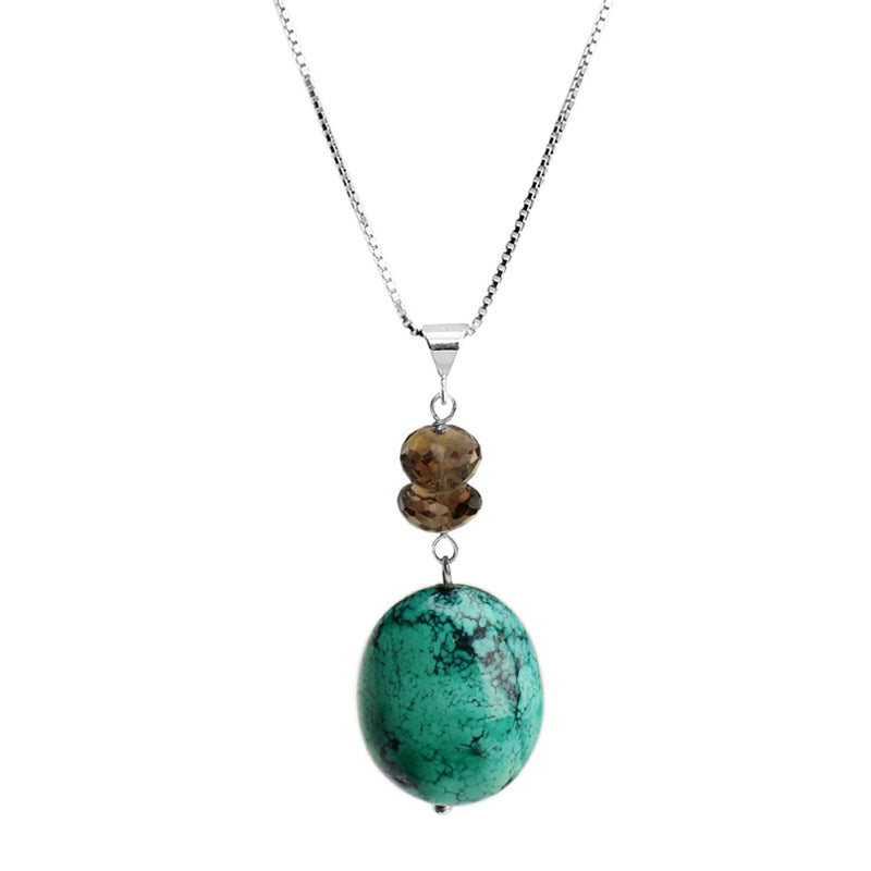 Genuine Turquoise and Smoky Quartz Sterling Silver Necklace