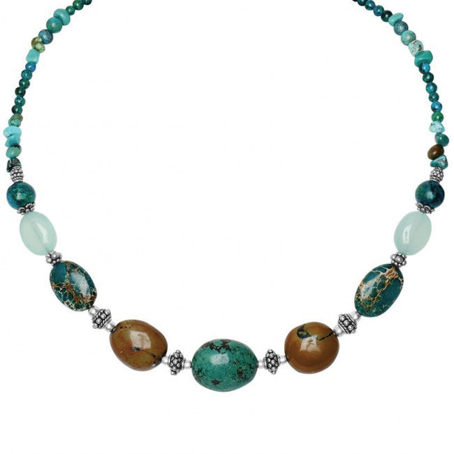Glorious Ocean Shades of Genuine Turquoise & Chalcedony Sterling Silver Statement Necklace