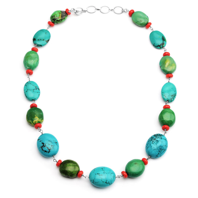 Vibrant Chalk Turquoise with Coral Sterling Silver Toggle Clasp Statement Necklace