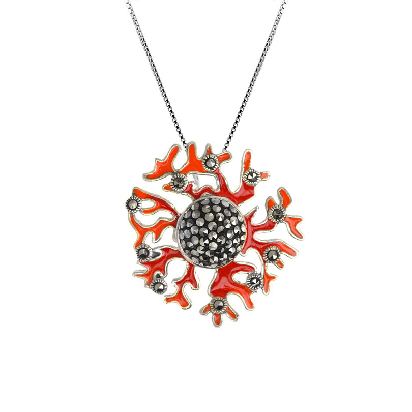 "Stunning ""Sea Coral"" Design Marcasite Sterling Silver Pendant necklace"