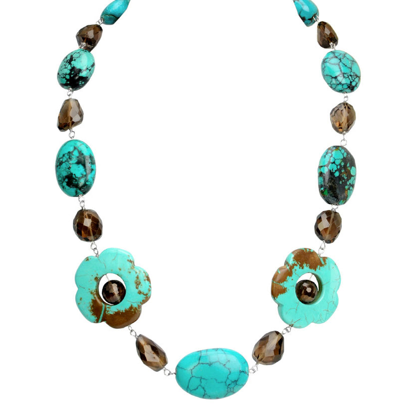 Genuine Vibrant Turquoise & Smoky Neckline Stones Along With Blending Chalk Turquoise Flowers Silver Necklace