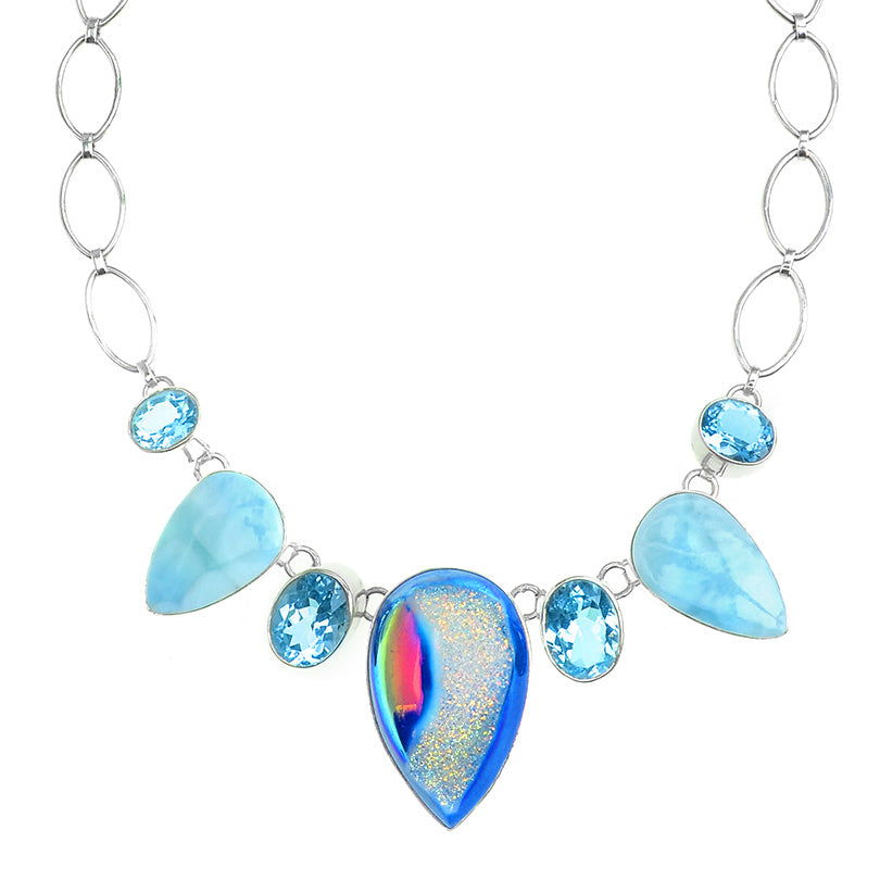 Vibrant Titanium Drusy, Blue Topaz & Larimar Silver Statement Necklace