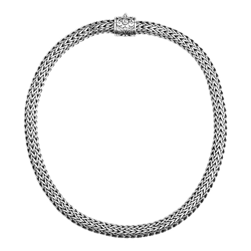 Sterling Silver 9mm Bali Weave Chain with Barrel Clasp