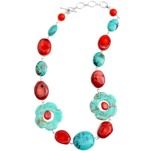 Turquoise and Coral Sterling Silver Flower Necklace