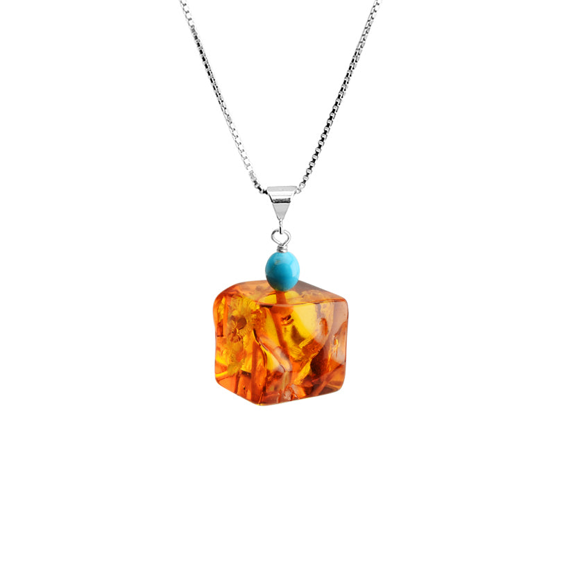 Cognac Amber and Sleeping Beauty Turquoise Sterling Silver Necklace