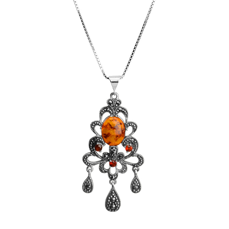Unique Amber, Marcasite and Garnet Sterling Silver Vintage Style Necklace