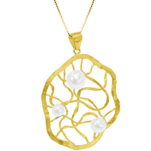 18Kt Gold Plated Dream Catcher with Pearls on Italian Gold Platerd Sterling Silver Necklace