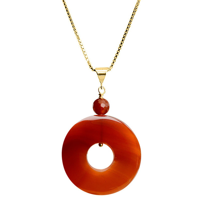 Gorgeous Carnelian Circle Hoop Gold Plated Sterling Silver Necklace