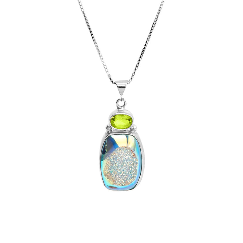 Shimmering Blue Titanium Druzy and Peridot Sterling Silver Necklace 16