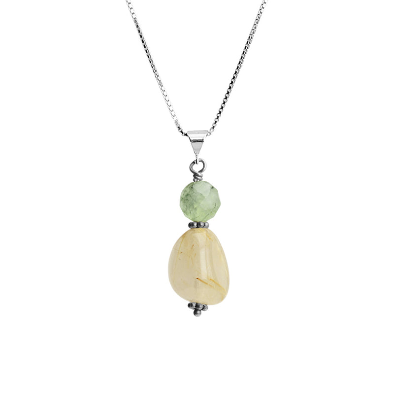 Lovely Gold Rutilated Quartz and Prehnite Sterling Silver Necklace 16
