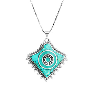 Genuine Himalayan Turquoise Silver Plated Nepal Necklace on rhodium plated silver chain.