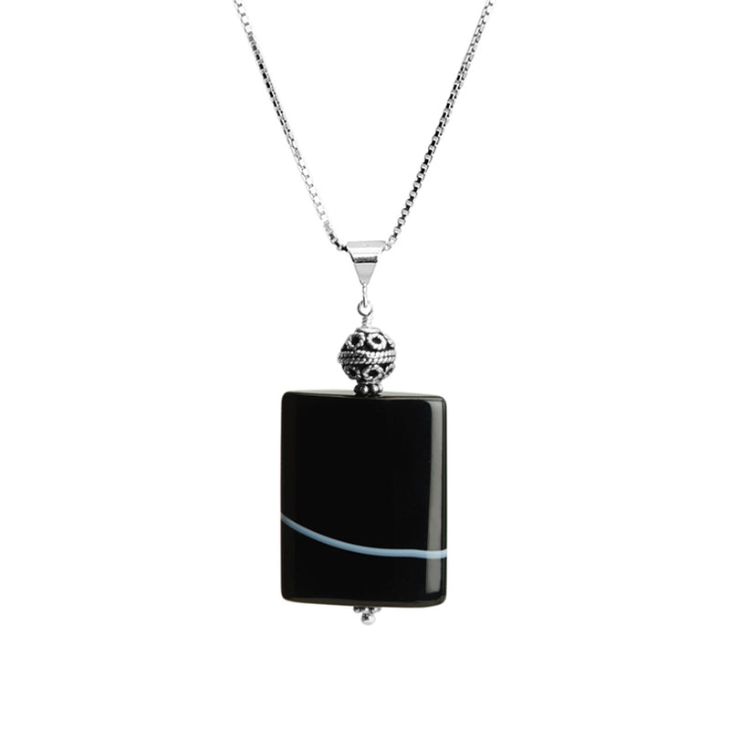 Natural Striped Black Onyx Sterling Silver Necklace