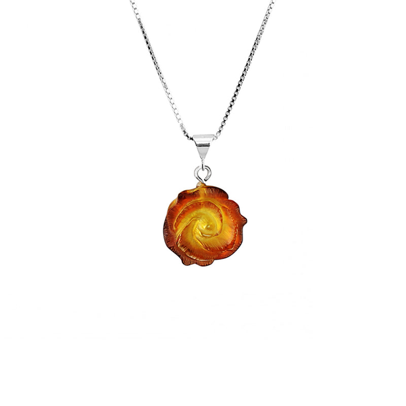 Beautiful Carved Amber Flower Sterling Silver Necklace
