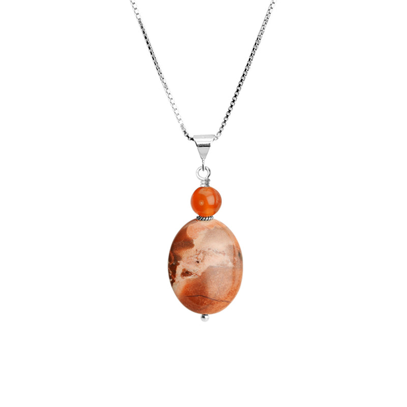 Lovely Jasper and Carnelian Sterling Silver Necklace 18