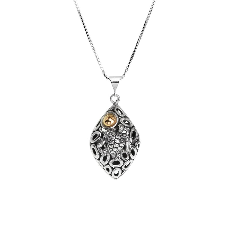 Beautiful Balinese Sterling Silver Turtle with 18Kt Gold Accent Necklace