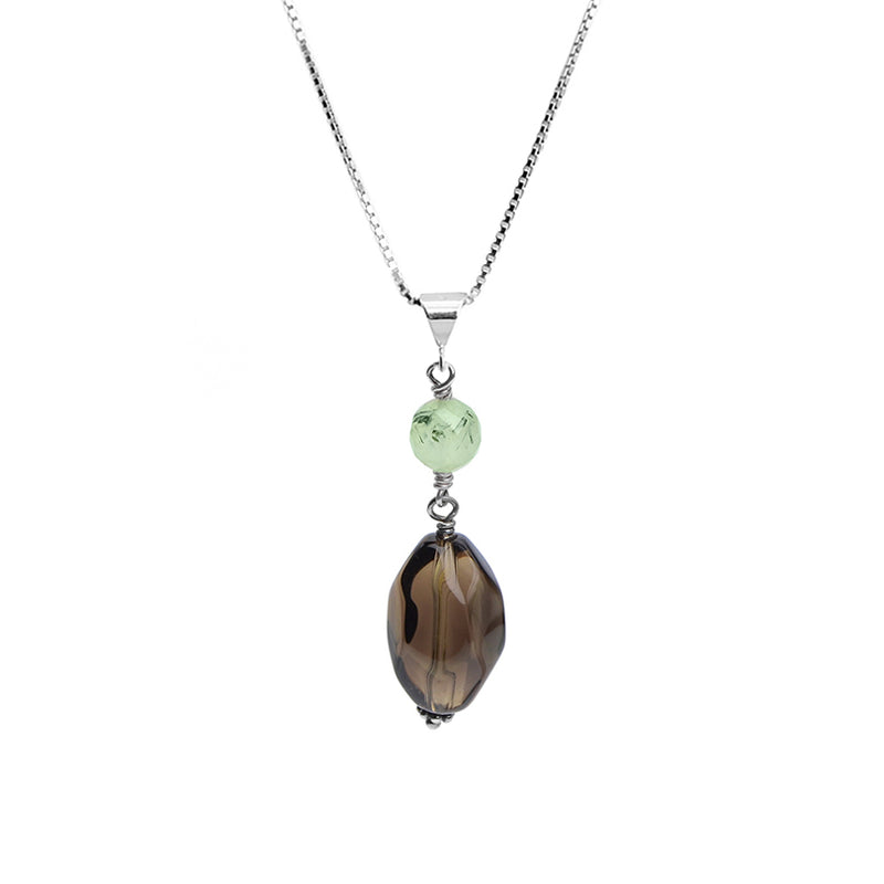 Smoky Quartz and Prehnite Sterling Silver Necklace
