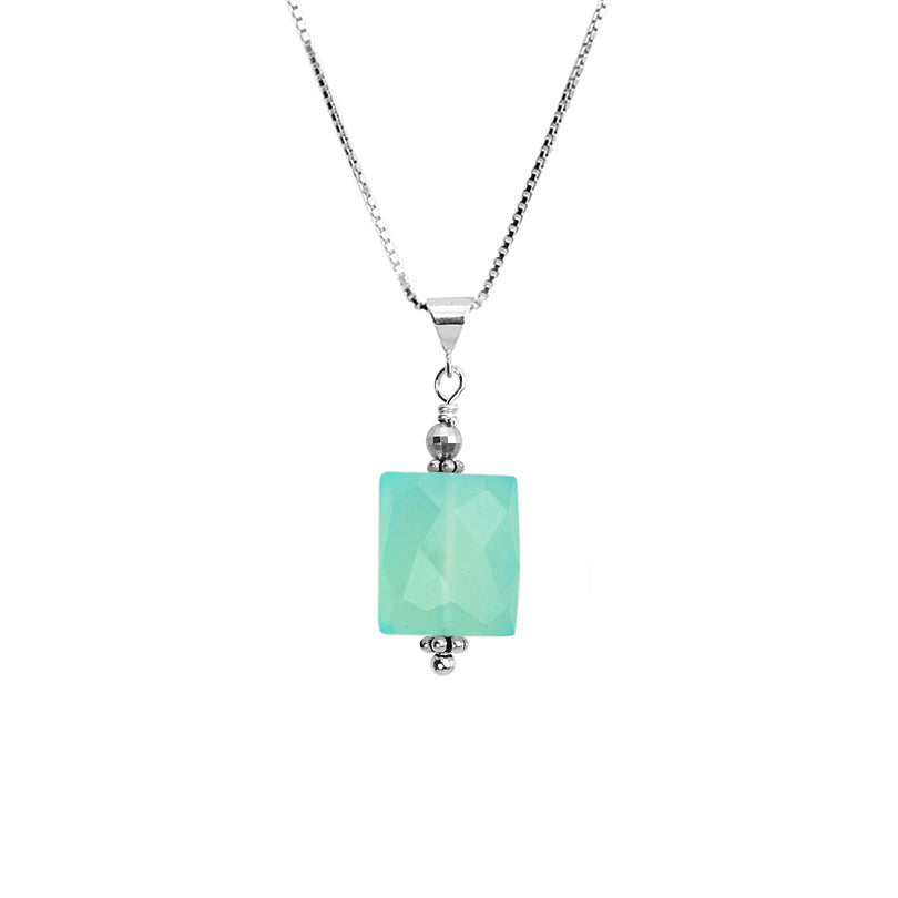 Beautiful Blue Chalcedony Petite Sterling Silver Necklace