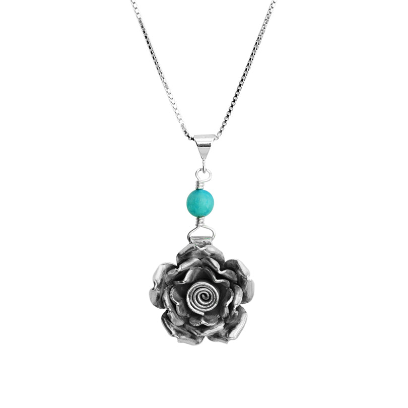 Chunky Rose Sterling Silver Flower Necklace