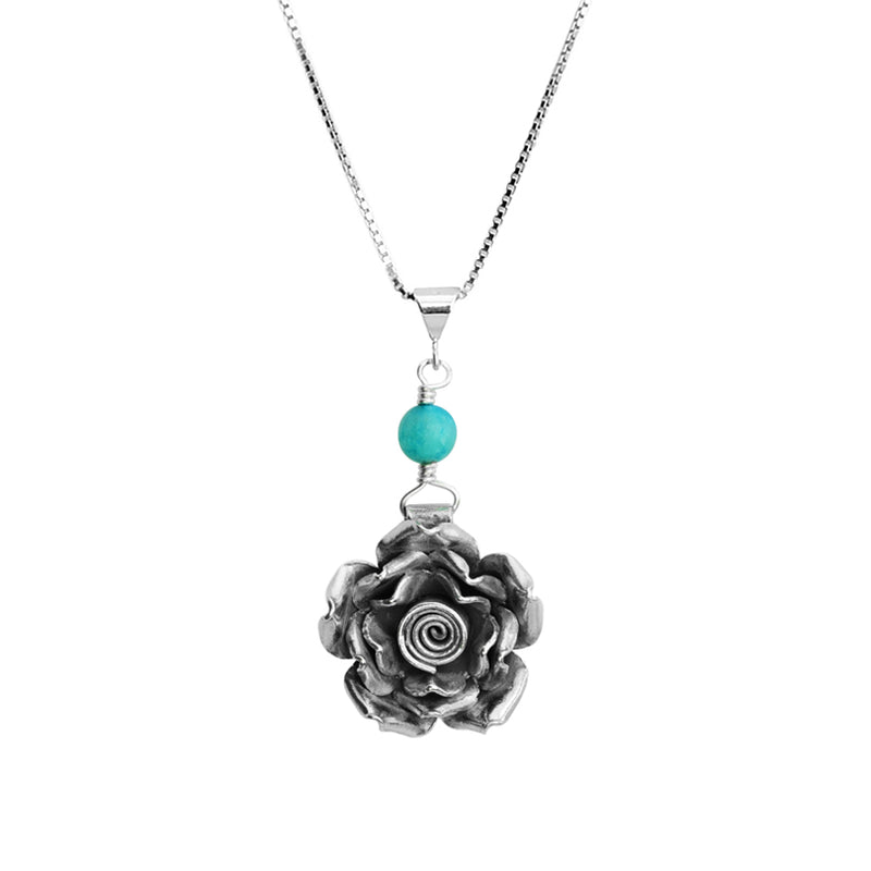 Blue Agate Sterling Silver Flower Necklace