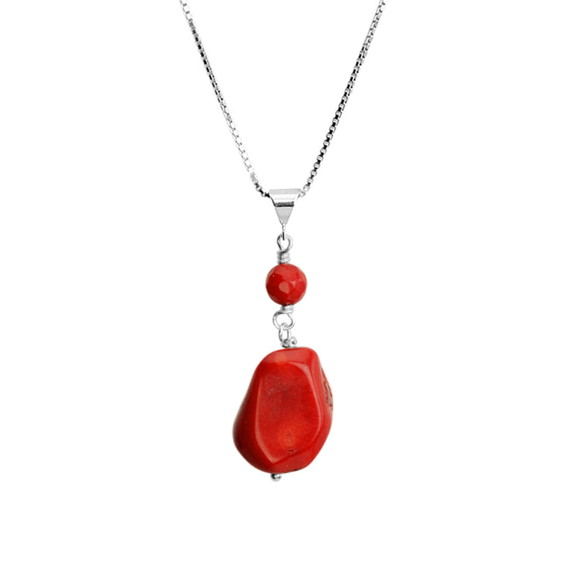 Coral Sterling Silver Necklace