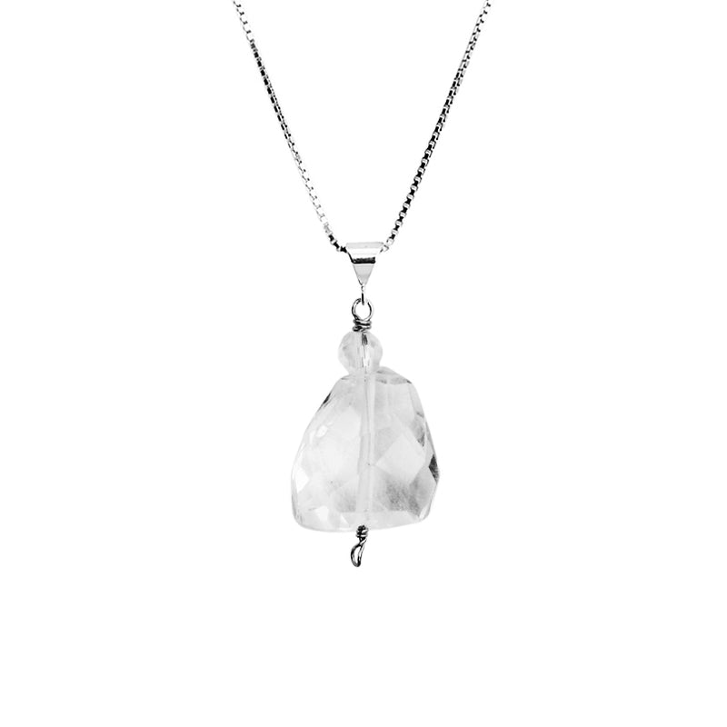 Faceted Quartz Sterling Silver Necklace