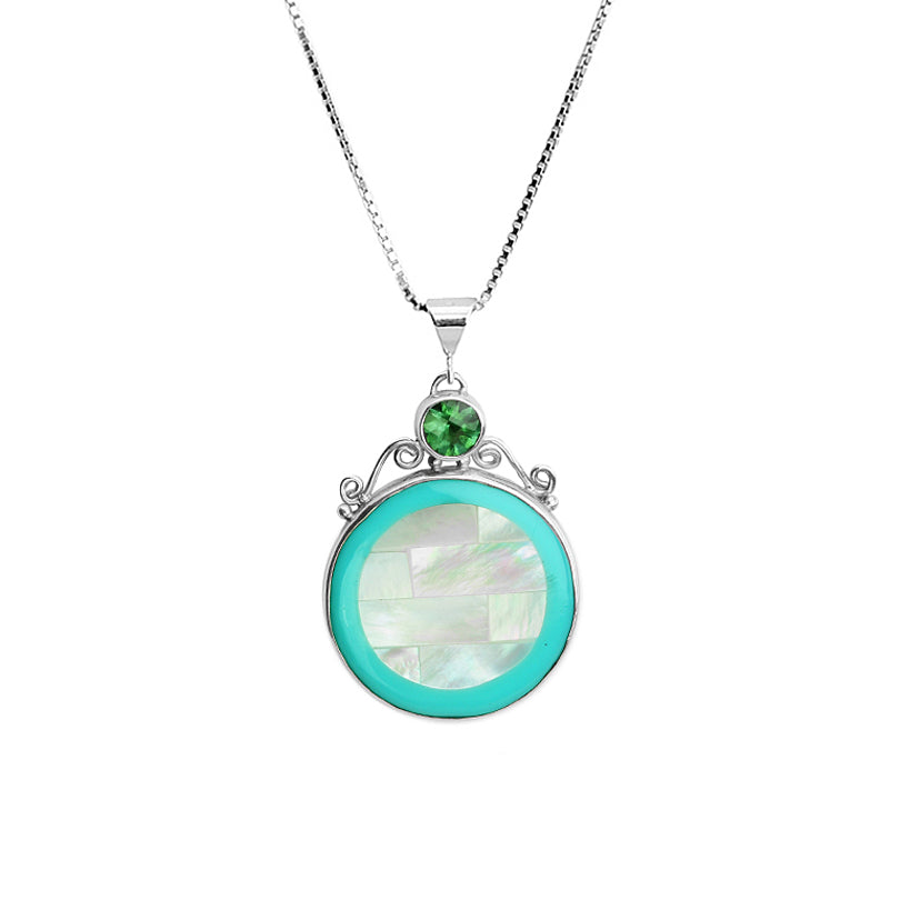 Beautiful Faceted Shell with Green Quartz Sterling Silver Necklace