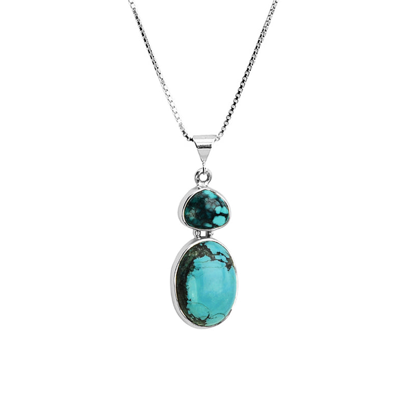 Genuine Turquoise Sterling Silver Necklace