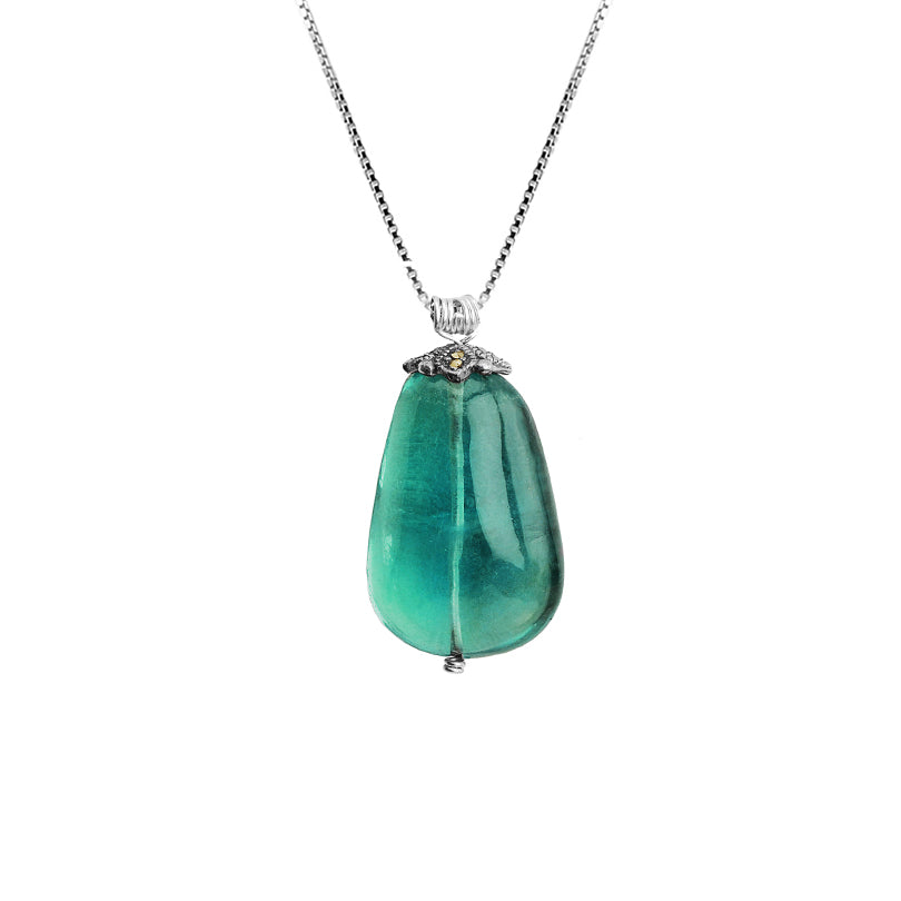 Gorgeous Emerald Green Fluorite Sterling Silver Necklace