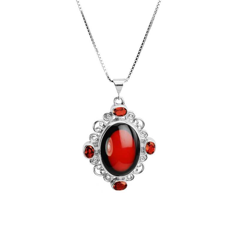 Elegant Garnet and Coral with Black Border Sterling Silver Necklace