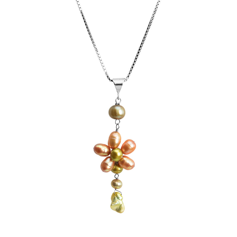 Delicate Pearl Sterling Silver Flower Necklace