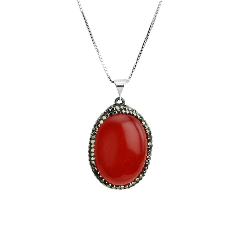 Sparkling Hematitie and Red Onyx Sterling Silver Necklace 18