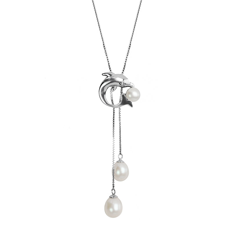Dolphin Fresh Water Pearl Rhodium Plated Silver Dolphin Necklace (white or pink)