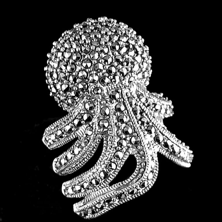 Amazing Octopus Marcasite Sterling Silver Ring