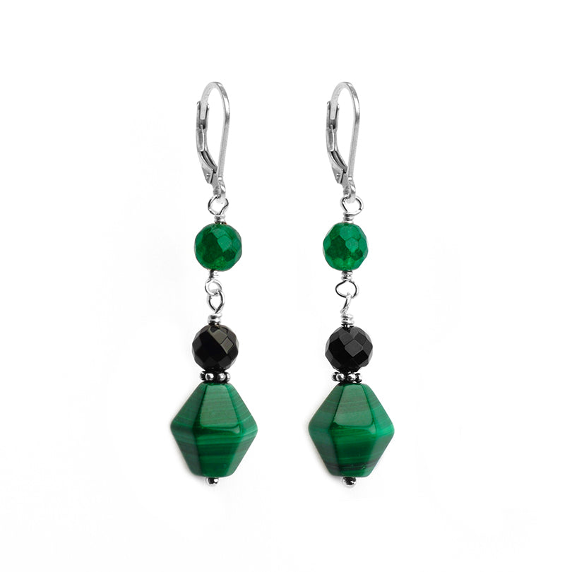 Beautiful diamond Shape Green Malachite with Onyx Accent Stones Sterling Silver Lever Back Earrings
