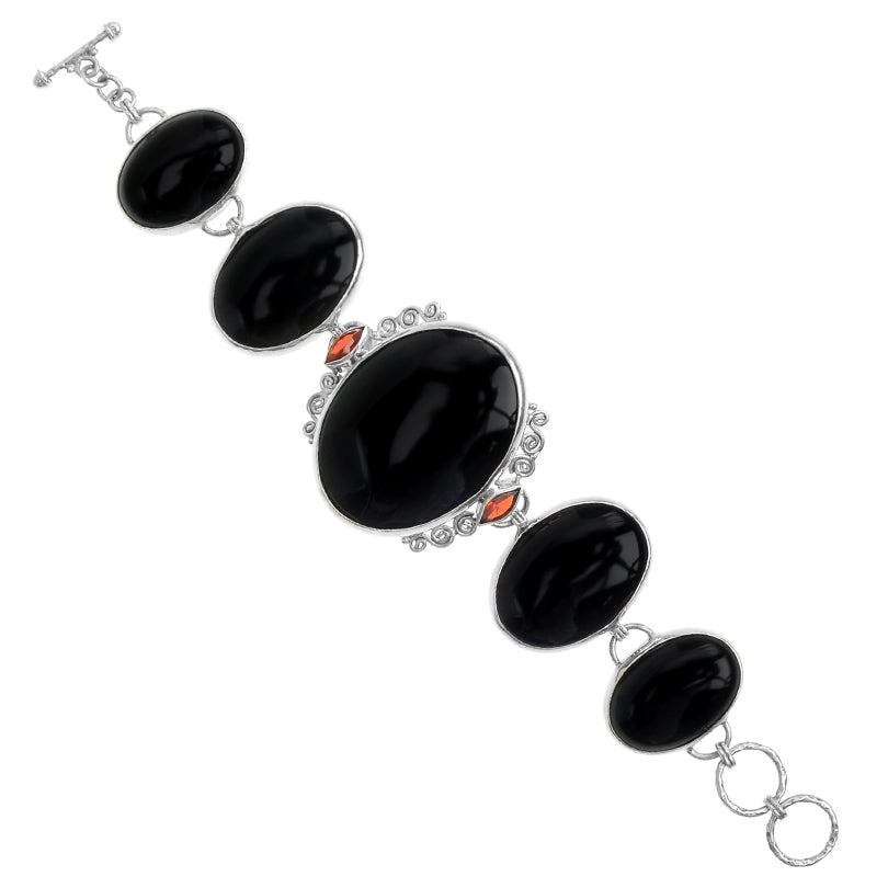 Exquisite Onyx with Sparkling Garnet Sterling Silver Statement Bracelet