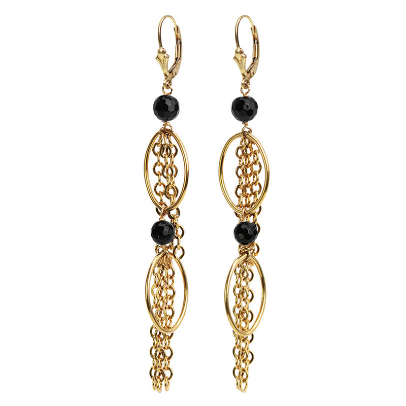 Gold Fill Black Onyx Chain Earrings
