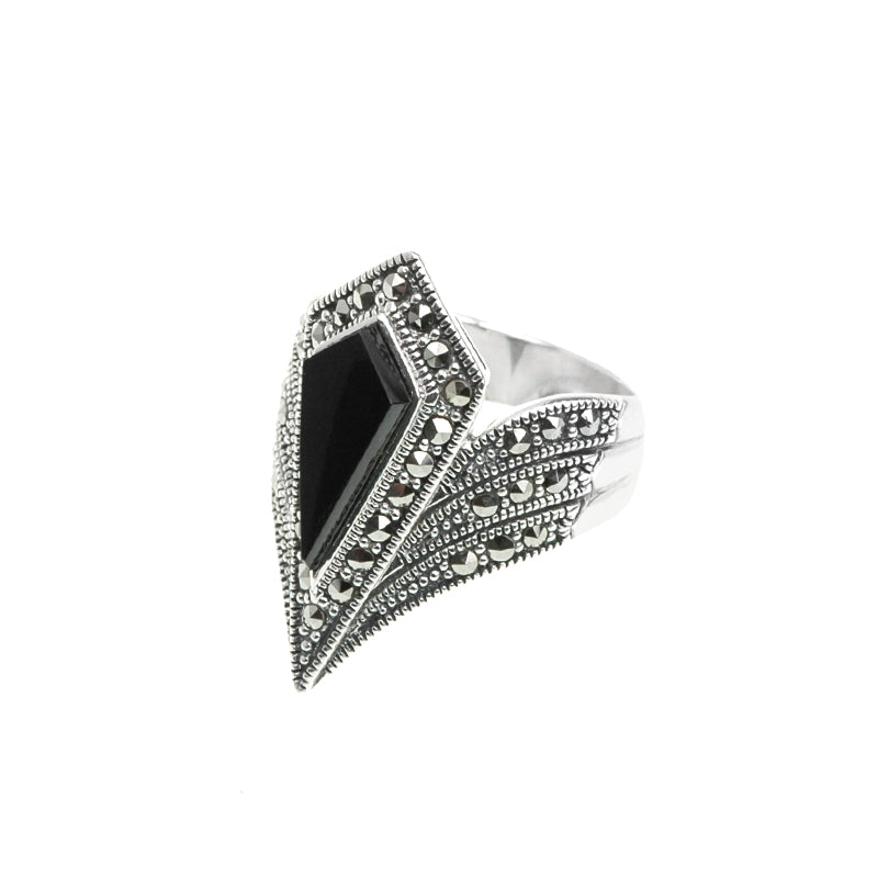 """Diamond Crest"" Black Onyx Marcasite Sterling Silver Ring"