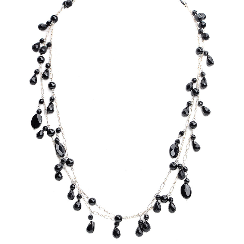 Super Sleek Onyx Drops Sterling Silver  Necklace 44""