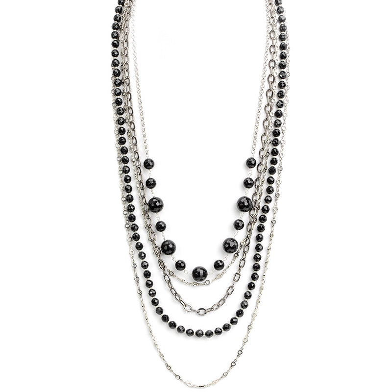 Silver Plated Brass Onyx Multi-Strand Necklace